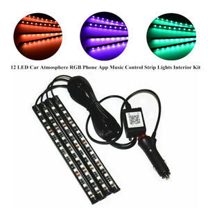 4x12LED Car Atmosphere RGB Phone App Music Control Strip Light Lamp Interior Kit