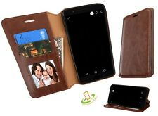 BROWN Leather Flip Wallet Case Cover Stand For ZTE Sequoia / Blade Z Max Z982