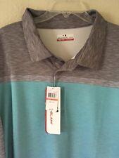 Nwt Big Mens Golf Shirt Sz 3XB Grand Slam Wick UPF Stretch Gray Teal Collared