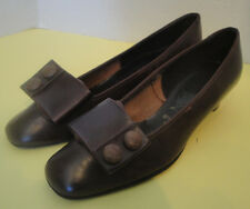 Mod Vintage Brown Square Toed Shoes Button Buckle Enrico Sergjo 7 1/2 M Italy