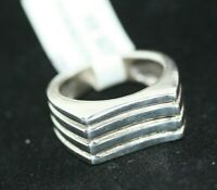 New Modernist Mexican Real Sterling Silver Striped Row Men's Women's Ring Sz 6.5