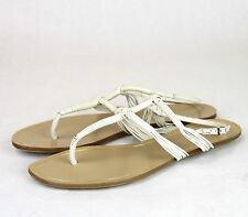 $650 New Authentic GUCCI Leather Gladiator Thong Sandal White 309674 9022