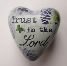 J Trust in the Lord art Decorative HEART figurine TOKEN sculpture