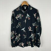 H&M Womens Blouse Top 10 Black Floral Birds Long Sleeve Collared Button Front