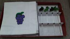 New listing Boston Warehouse Embroidered Grapes Cocktail Napkin Glass Pick Set open box new