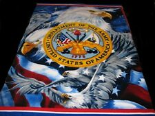 ARMY Military Personalized Fleece Panel Blanket w American Eagle 62 x 52 inches