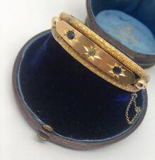 Victoriano Antiguo Oro Amarillo Zafiro Y Diamantes Pulsera Brazalete Recargado
