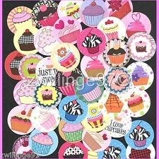 100 Precut assorted Birthday Cupcakes BOTTLE CAP IMAGES Variety 1 inch discs