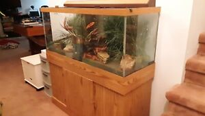 75 gallon fish tank & stand with glass tank cover & matching lamp.