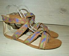 FIORE LADIES BROWN AND BLUE MIX  FLATS  SUMMER BEACH SANDALS NEW OTHER UK 5