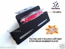 Motorcycle universal tail tidy + 13 LED 3 function number plate rear brake light