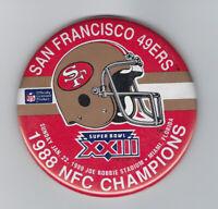 "1988 San Francisco 49ers Super Bowl XXIII button 3 1/2"" NFC Champs Joe Montana"