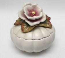 Fitz And Floyd Floral/Gourd Trinket Box Jar Ladybug