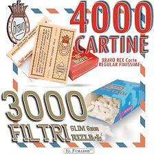 3000 FILTRI RIZLA SLIM 6mm + 4000 CARTINE BRAVO REX CORTE REGULAR FINISSIME