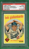 1959 TOPPS #321 BOB GIALLOMBARDO ROOKIE OPTIONED VARIATION DODGERS NM-MT PSA 8