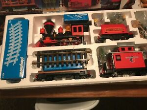 Playmobil pacific Railroad 4034 western train set G with extras vintage