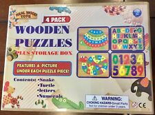 Wooden Puzzles 4 Pack Plus Storage Box Snake, Turtle, Letters & Numerals 3+