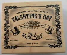 Inkadinkadio Happy Valentine'S Day Vintage Candy Wrapper Wooden Rubber Stamp