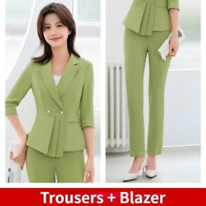 2X Set Ladies Formal Office Uniform Business Suits Career Trousers Blazer Slim