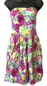 ANTHROPOLOGIE TULLE~ WOMEN'S FLORAL STRAPLESS DRESS ~ SIZE LARGE NEW