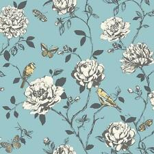 Wallpaper Rasch - Luxury Amour Floral Roses - Birds / Butterfly -In Teal -204339