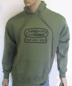 LAND ROVER FOUR WHEEL DRIVE LOGO HOODIE in Olive Green S M L XL XXL - FWD Plate