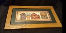Homco Home Interiors Birdhouses Oak Framed Picture with Glass, By L Spivey