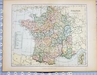 1886 MAP FRANCE NICE ANJOU CORSICA LORRAINE BRITTANY