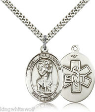 St Christopher EMT Sterling Silver Patron Saint Medal Necklace by Bliss