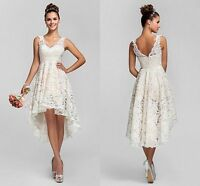 Short Sexy V-Neck White/Ivory Lace Wedding Dress Bridal Gowns stock Size 6-16