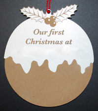 "Xmas Pudding  ""Our First Christmas At"" Wooden Christmas Tree Bauble Decoration"