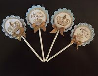 Royal Cupcake Toppers/Royal Prince/ Light blue and Gold Crown 1 dozen