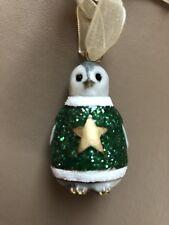 Monsoon Enamel Grey Penguin wearing Green Star Sweater Christmas Decoration
