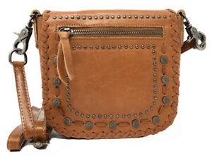 Montana West Genuine Leather Messenger Purse Cross Body Conchos Stitching