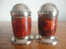 Collectible Vintage Stainless Steel Salt & Pepper Shakers Plastic Interior