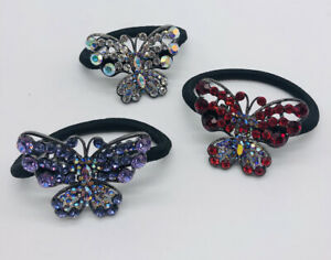Lot of 3 Metal BUTTERFLY faux GEMS Pony Tail Holder Black Elastic