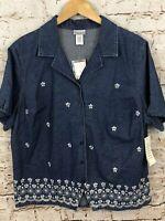 Fashion Bug womens 18/20W button shirt denim floral new short slv vneck A6