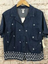 Fashion Bug womens 18/20W button shirt denim floral new short slv vneck A6