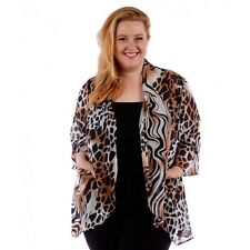 Womens Animal Print Size 3X Brown Black Abstract Chiffon Cardigan Top Yummy Plus