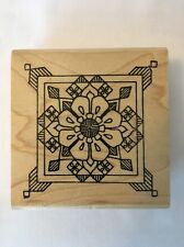 Holly Berry House FLOWER MEDALLION Rubber Stamp FLORAL Botanical Stained Glass