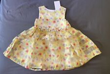 Baby Girl 12-18 Month H&M Yellow Floral Sheer Easter Sleeveless Dress