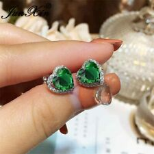 Black Friday 2.50Ct Heart Cut Green Emerald Stud Earrings 14K White Gold Finish