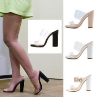 Onlymaker Women's Clear Open Toe Double Straps Chunky Heels Mules Slide Sandals