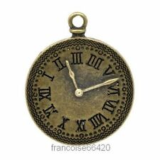 PENDENTIF BRELOQUE CHARM PERLE / HORLOGE 37x30mm / CREATION BIJOUX COLLIER #B659