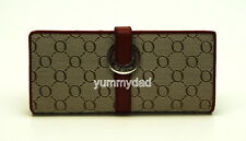 OROTON SIGNATURE ESSENTIAL SLIM CLUTCH LEATHER WALLET IN RED TAUPE BNIB