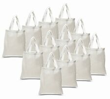 16- WHITE COTTON TOTE BAGS Durable Books School Grocery Shopping Art Swag Bags