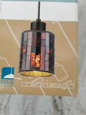 Troya 1-Light Antique Brown Hanging/Ceiling Island Light with Mosaic Glass Shade