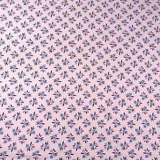 """36"""" W Vintage Cotton Quilting Fabric, Blue Faux Flowers on Pink, BTHY"""
