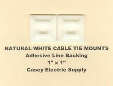 """25 1"""" x 1"""" Inch Cable Tie Mounts Natural White Nylon w/Adhesive Backing Made Usa"""