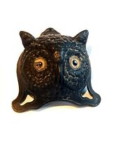 Figural antique table bell owl head with glass eyes c. 1900